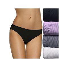 Fruit of the Loom Breathable Micro Mesh 4-pack + 1 Bonus Bikini Panties 5DBKBIK, Women's, Size: 6, Lt Purple