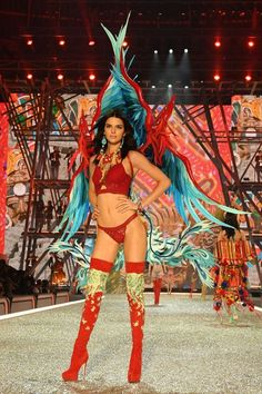 Kendall Jenner in Her First Wings at the Victoria's Secret Fashion Show / See more of her looks: http://www.teenvogue.com/gallery/kendall-jenner-vs-show-2016-victorias-secret-fashion-show-runway-looks