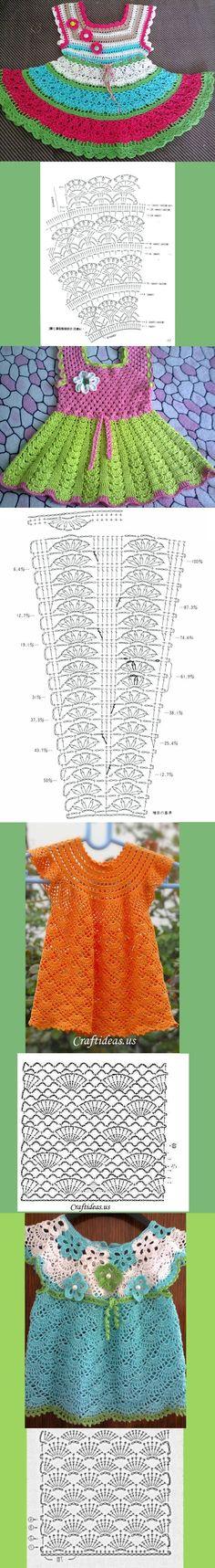 МИЛЕНЬКИЕ ПЛАТЬИЦА ОТ ЕЛЕНЫ БОКК. liveinternet.ru/users/olga_knoll_2/post354247732/# Knitting For Kids, Crochet For Kids, Diy Crochet, Baby Knitting, Crochet Hats, Crochet Stitches, Crochet Patterns, Baby Dress Patterns, Baby Girl Crochet