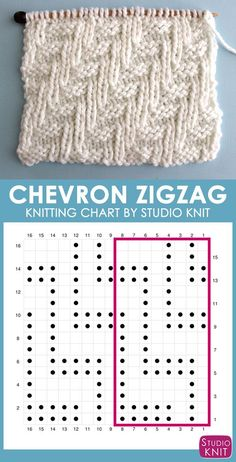 Chevron Zigzag Stitch Knitting Chart with Free Written Pattern and Video Tutoria. Chevron Zigzag Stitch Knitting Chart with Free Written Pattern and Video Tutorial by Studio Knit charts patter. Knitting Stiches, Knitting Charts, Loom Knitting, Knitting Socks, Knitting Patterns Free, Free Knitting, Stitch Patterns, Knit Stitches, Lace Patterns