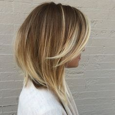 Blonde ombre with side bangs