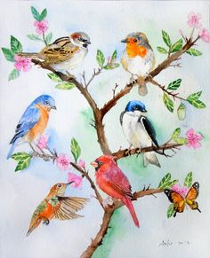 """Birds in the Tree"" - original watercolor - by asho on Etsy."