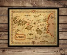 Vintage style wall map of Narnia Narnia map Narnia by FanArtprint
