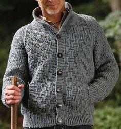 Men's hand knit cardigan – Hand Knitting Strick Cardigan, Chunky Cardigan, Knit Cardigan, Knitting Designs, Knitting Patterns, Cardigan Pattern, Pulls, Hand Knitting, Men Sweater