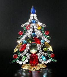 "Unique Czech Rhinstone Christmas Tree (Decoration), height: 3 3/4"", multicolored"