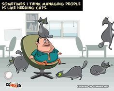 Managing People is like herding cats. Funny quote cartoon.