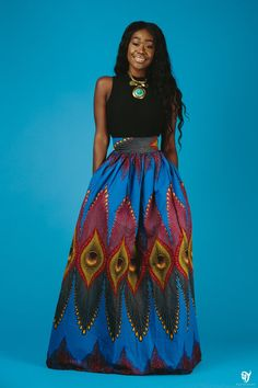 the blue ISI maxi skirt by ofuure on Etsy