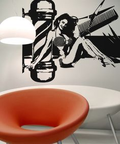 Vinyl Wall Decal Sticker Sexy Barbershop #OS_AA586