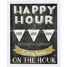 "East Urban Home 'Happy Hour' Vintage Advertisement Size: 25"" H x 19"" W x 1"" D"