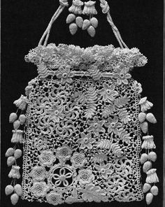 Antique Irish Crochet Purse  no pattern but inspiration for putting Romanian and Irish lace together as a purse