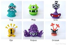 Monsters Mascots made from paper using 3D Quilling techniques to celebrate the new Kurlikins Facebook page