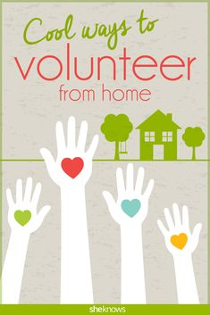 Giving back is easy when you can do it from your couch: here's how to volunteer from home! Ton of cool ideas! Great for teaching the kids the importance of giving back and how easy it can be to help the world become a better place! Places To Volunteer, Volunteer Work, Volunteer Ideas, Diy Volunteer Projects, Teen Volunteer, Volunteer Gifts, Service Projects For Kids, Community Service Projects, Service Ideas