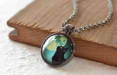 Black Cat Necklace: Black Cat and Teal Jewelry by FrenchHoney $16US #Halloween approaches...