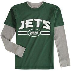 New York Jets Youth Fan Gear Bleachers Faux Layer Long Sleeve T-Shirt -  Green. Jet Fan 4e4b5e979