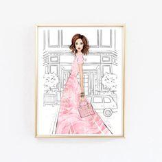 1054 Pink Paris Watercolour Print Poster A4 A5 A6 A3 Magazine Cover Girly