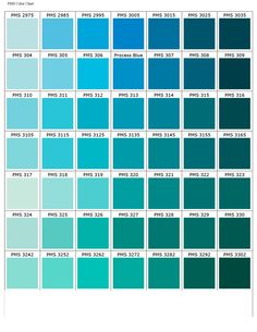 Pantone Matching System Color Chart Bleu Green Colours