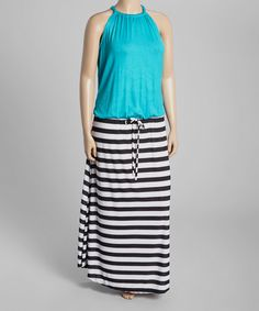Look at this Jade & Black Stripe Sleeveless Maxi Dress - Plus on #zulily today!