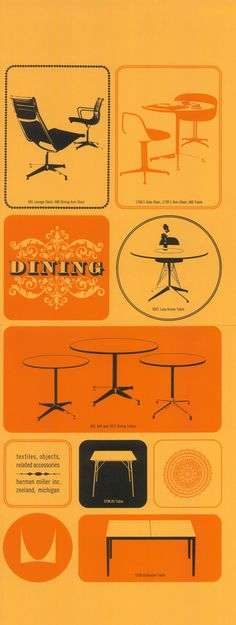 Vintage graphics promote #Eames and other Herman Miller chairs and tables by @hermanmiller
