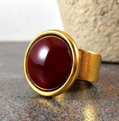 Statement Ring, Carnelian, Gold, Gemstone Ring, Carnelian Ring, Circle Ring, Stone Ring, Adjustable, Orange, Gold Ring, Big Ring by Pilboxx on Etsy