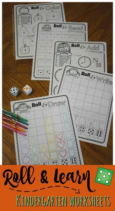 FREE Roll & Learn Kindergarten Worksheets - NO PREP back free for teachers, parents, homeschoolers to help preschool, prek, kindergarteners practice writing number, alphabet letters, drawing shapes, telling time, sight words, word families, color words, a
