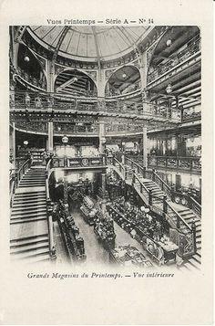 Printemps Haussmann Paris - view of the great hall Sédille in the actual Printemps Beauté Maison, in 1883.