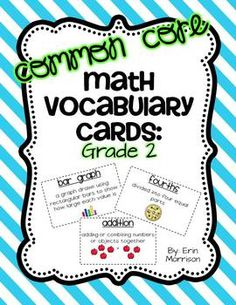 2nd Grade Math Vocabulary Cards- aligned to the Common Core!
