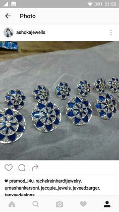 Button set in silver with enamel work and diamond
