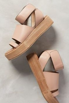Schuler & Sons Spliced-Strap Flatforms Pink 8 Shoes