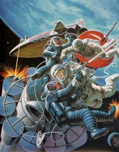 Space Wars by Earl Norem. This artwork was used on the cover of G.I. Joe: Fool's Gold by S.M. Ballard