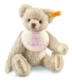 The Steiff Personalized Birthday Teddy Bear is a must for any collection. Made with the brass plated button in ear.
