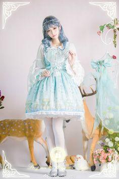 Long Ears and Sharp Ears Studio ~Stardust Jewel~ Lolita Jumper Dress Version II Mode Lolita, Lolita Goth, Gothic Lolita Fashion, Lolita Dress, Victorian Fashion, Lolita Style, Victorian Gothic, Gyaru Fashion, Harajuku Fashion