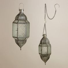 One of my favorite discoveries at WorldMarket.com: Clear Sabita Embossed Glass Hanging Lanterns $15-20