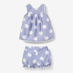 2-Piece Polka Dot Strappy Dress and Bloomers Set