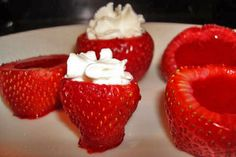 strawberry jello shots -- strawberry jello, whipped cream vodka, strawberries