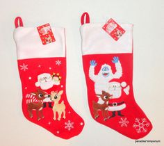 New Rudolph the Red Nosed Reindeer Christmas Stocking Set Lot Santa Bumble C15 #rudolphtherednosedreindeer