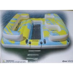 Intex Oasis Inflatable Island Seats 4 People with Mesh Floor and Step Ladder