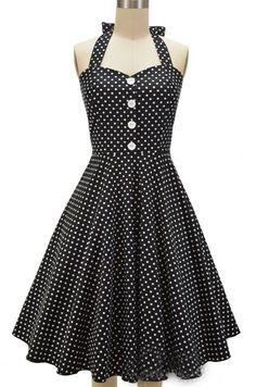 Black Long Polka Dot Vintage Dress