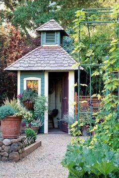 Concrete Patios, Garden Structures, Garden Paths, Outdoor Structures, Shed Design, Garden Design, Garden Cottage, Home And Garden, Small Cottage Garden Ideas