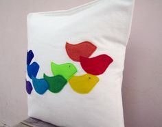 Colorful throw pillow rainbow birds  perfect kids or by EarthLab, $48.00