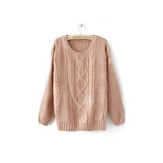 Pink Round Neck Broken Stripe Cable Sweater ($32) ❤ liked on Polyvore featuring tops, sweaters, sheinside, long sleeved, pink pullover, cable pullover, scoop neck sweater, long sleeve sweaters and pullover sweater