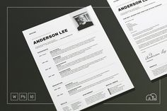 Professional Resume/CV - Cover letter Template for Word - Photoshop - InDesign. Anderson by bilmaw creative on Cv Cover Letter, Cover Letter Template, Cv Template, Letter Templates, Resume Templates, Business Brochure, Business Card Logo, Business Design, Corporate Business