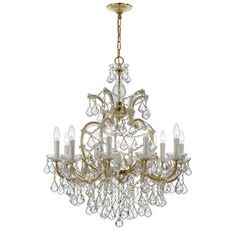 House of Hampton Griffiths 11 Light Crystal Chandelier Crystal Grade: Swarovski Spectra, Finish: Gold