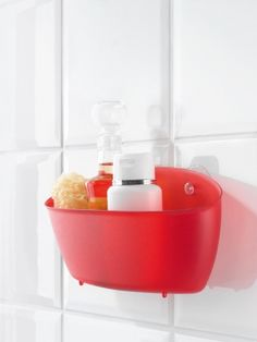 »SPLASH #Utensilo: SPLASH von #Koziol lässt sich dank der beiden Saugnäpfe überall problemlos montieren und bietet Platz für Shampoo, #Duschgel und Badeschwamm.