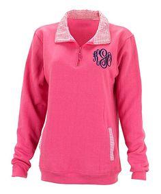 Pink Gingham Monogram Pullover - Women