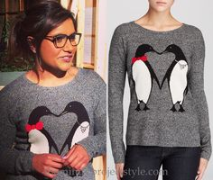 Mindy certainly has the cutest study looks! This time with just a touch of sparkle! /// C by Bloomingdale's Penguin Intarsia Cashmere Sweater - $173 (was $248) Worn with Oliver Peoples glasses