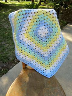 Blue Crochet Baby Blanket by BubbiesLovies on Etsy, $30.00