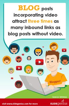 Blog posts incorporating video attract three times as many inbound links as blog posts without video. #video #blogs #marketing #infographics #slidegenius