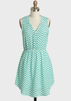 One Day Chevron Print Dress In Aqua   Modern Vintage New Arrivals
