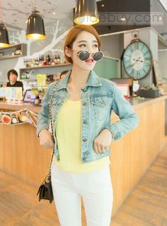 Glamorous Bronze Color Buttons Light Blue Denim Vintage Traditional Outwear New Arrival Bomber Jacket : Tidebuy.com