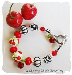 Cherry Bracelet beaded lampwork glass